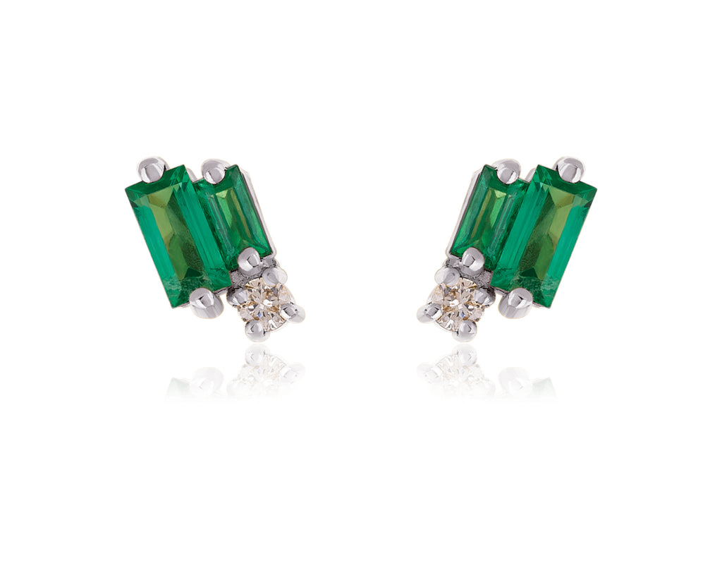LAYERED EMERALD STUD EARRING