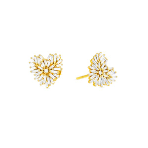 18K YELLOW GOLD ANGEL HEART EARRINGS