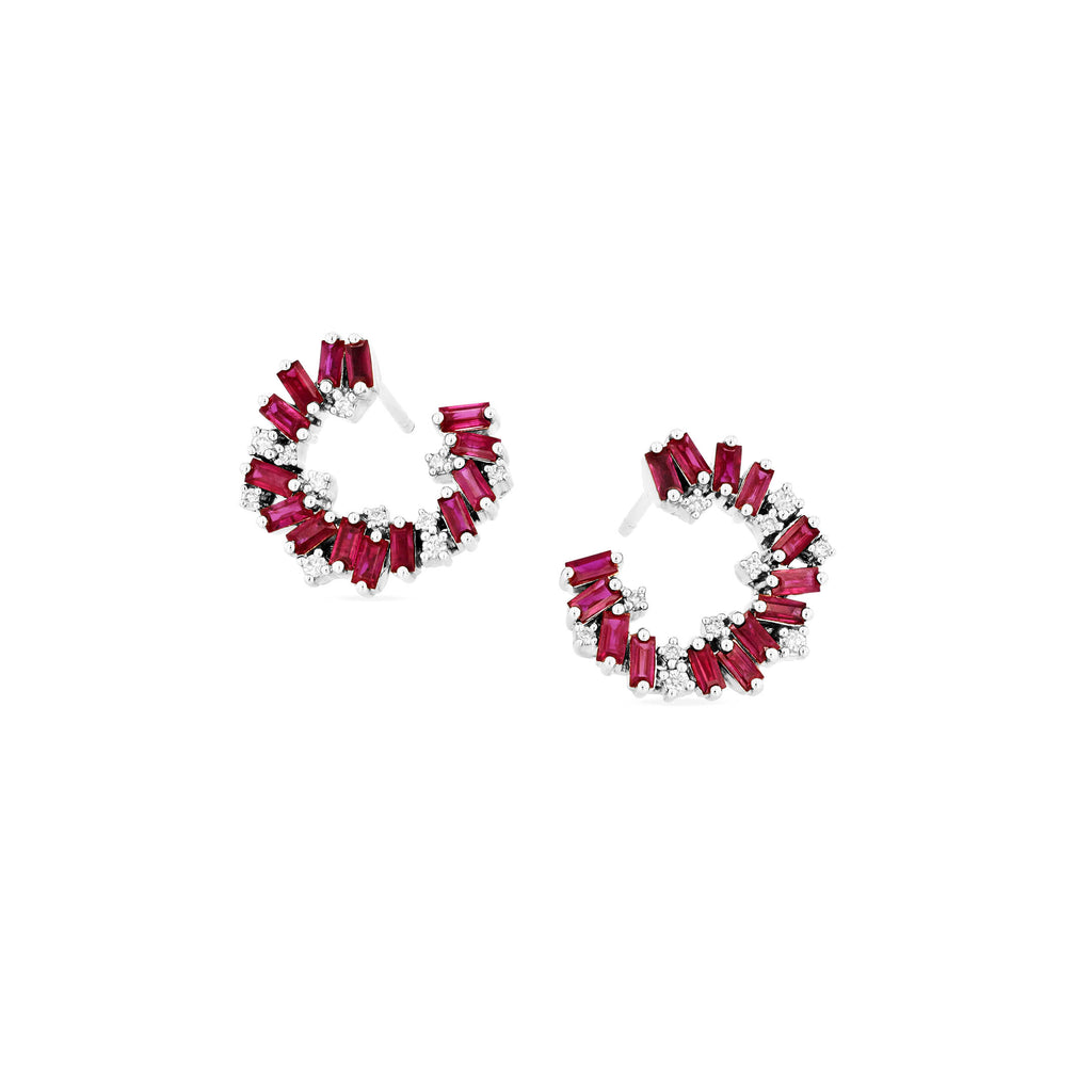 ISLA RUBY SIDEWAYS HOOP EARRING
