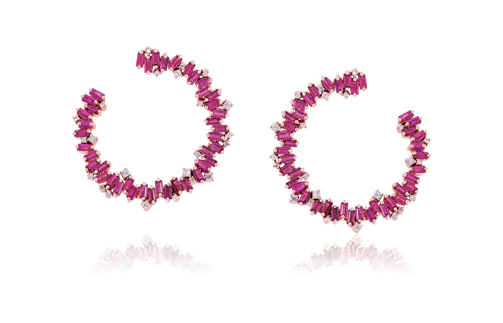 LARGE RUBY SPIRAL HOOP EARRING