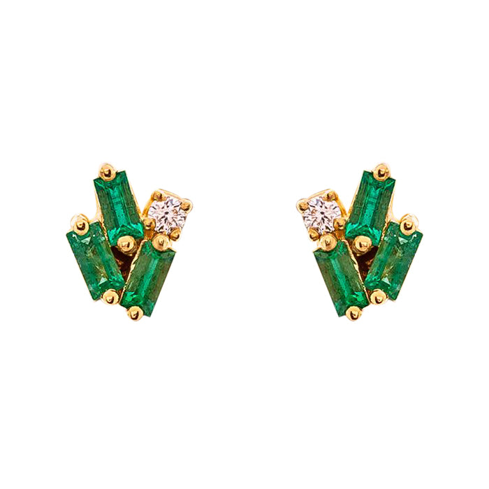 MINI CLUSTER EMERALD STUD EARRING
