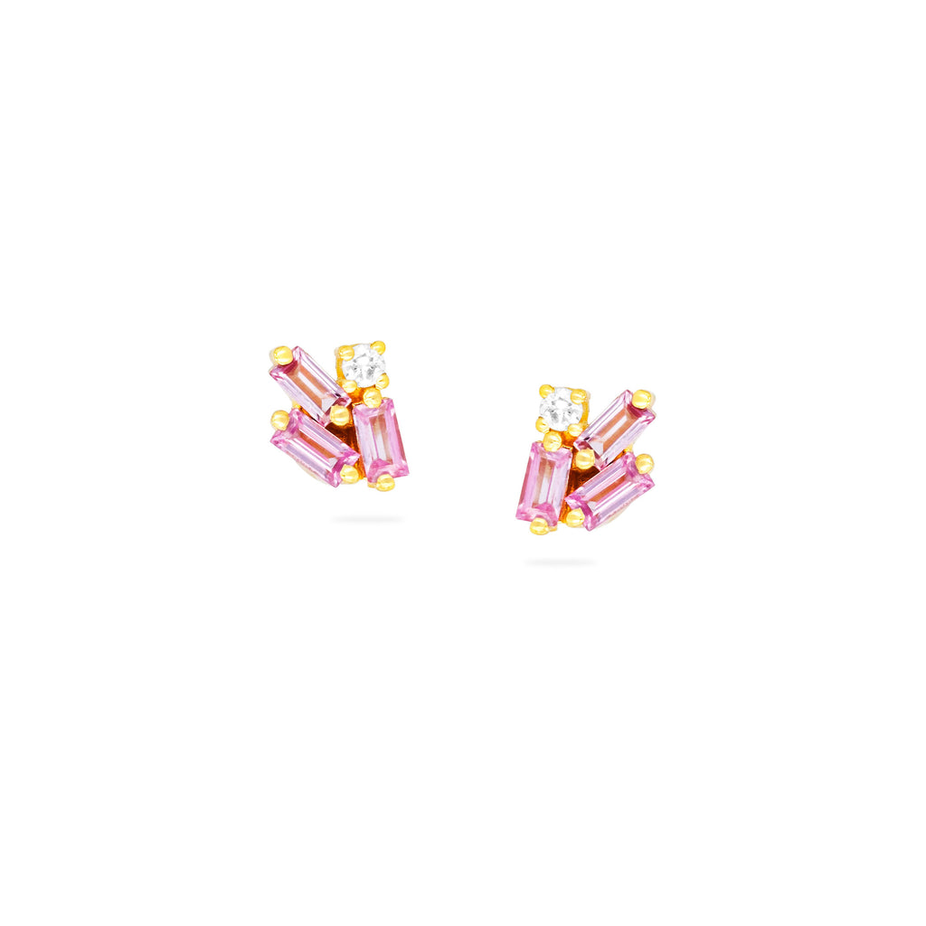 MINI CLUSTER PINK SAPPHIRE STUD EARRINGS