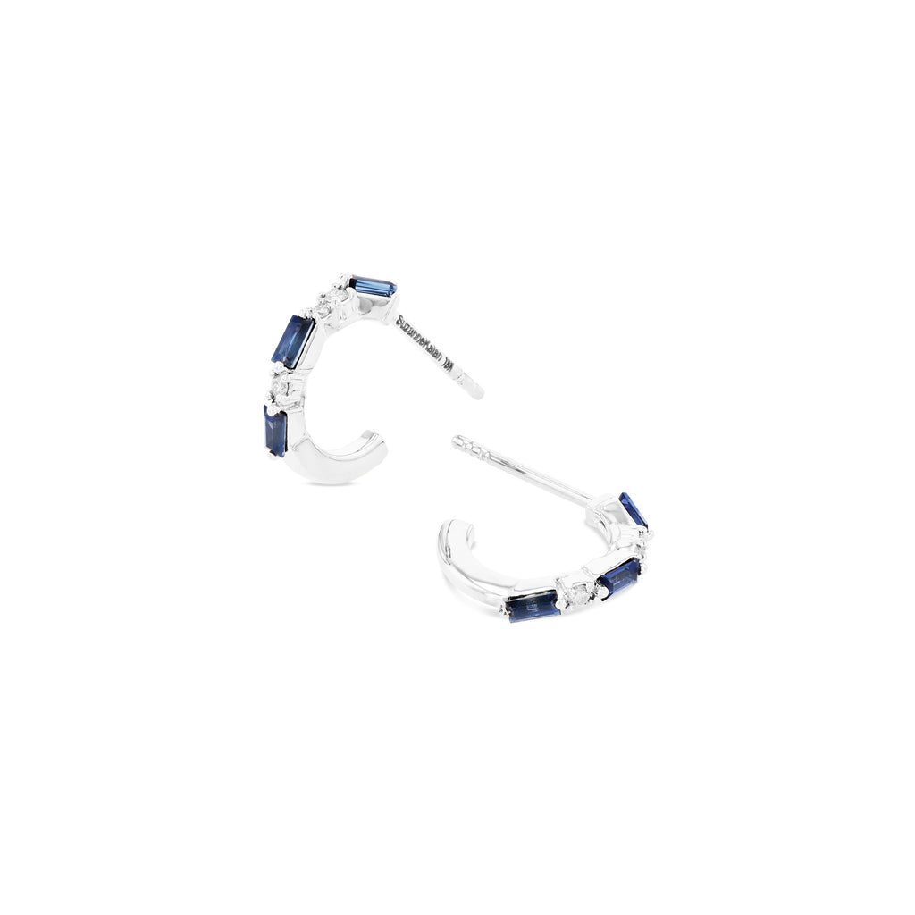 DARK BLUE SAPPHIRE THIN MIX 12MM HOOP EARRING