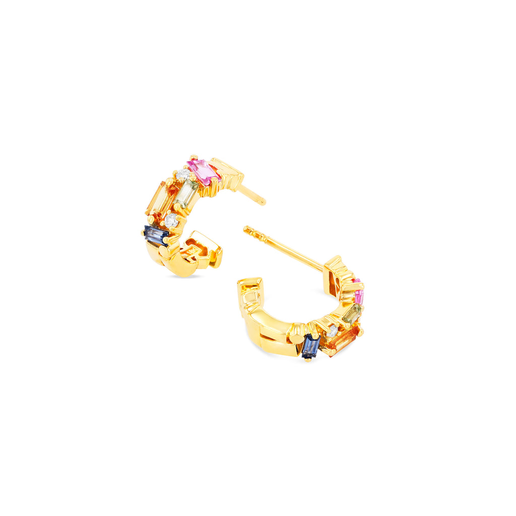 ELLA PASTEL RAINBOW SAPPHIRE HOOP EARRINGS