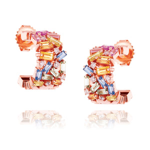 PASTEL FIREWORKS MEDIUM HUGGIE EARRINGS