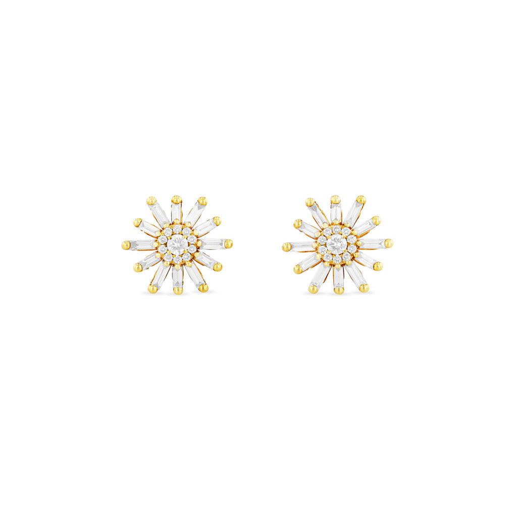 SABINE WHITE DIAMOND FLOWER STUDS