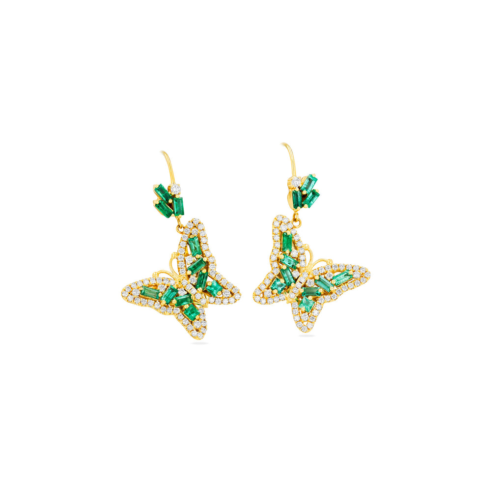 EMERALD BUTTERFLY DROP EARRINGS