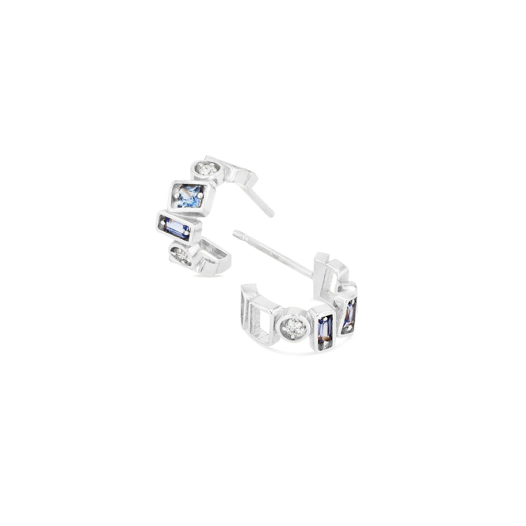 CARA LIGHT BLUE SAPPHIRE 12MM HOOP EARRING