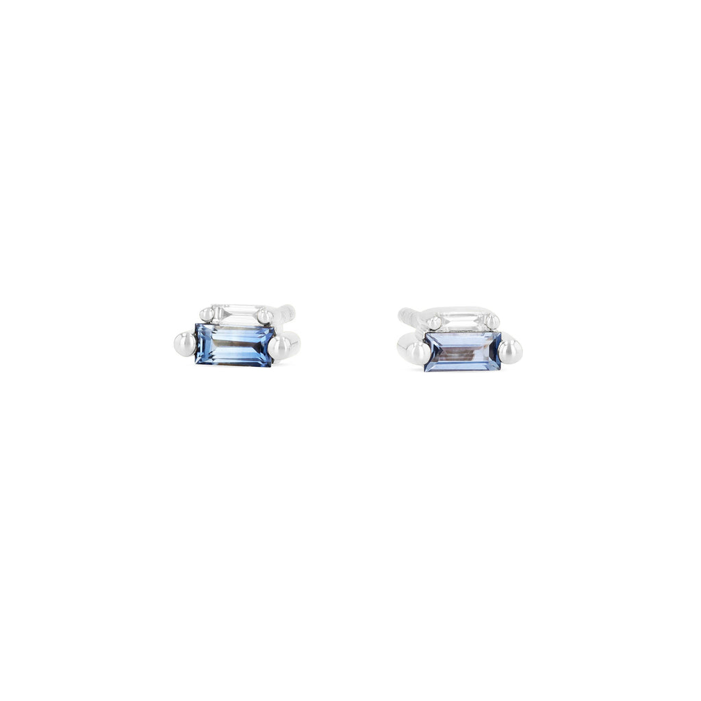 LIGHT BLUE SAPPHIRE DOUBLE STUD EARRING