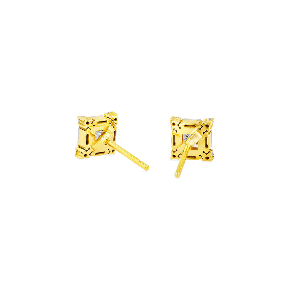 PRINCESS CUT WHITE DIAMOND STUD EARRING