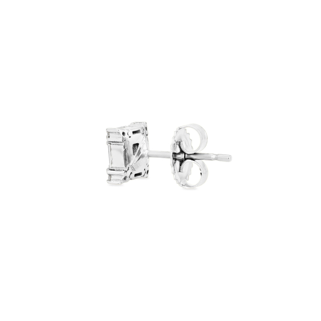 PRINCESS CUT LIGHT BLUE SAPPHIRE STUD EARRING