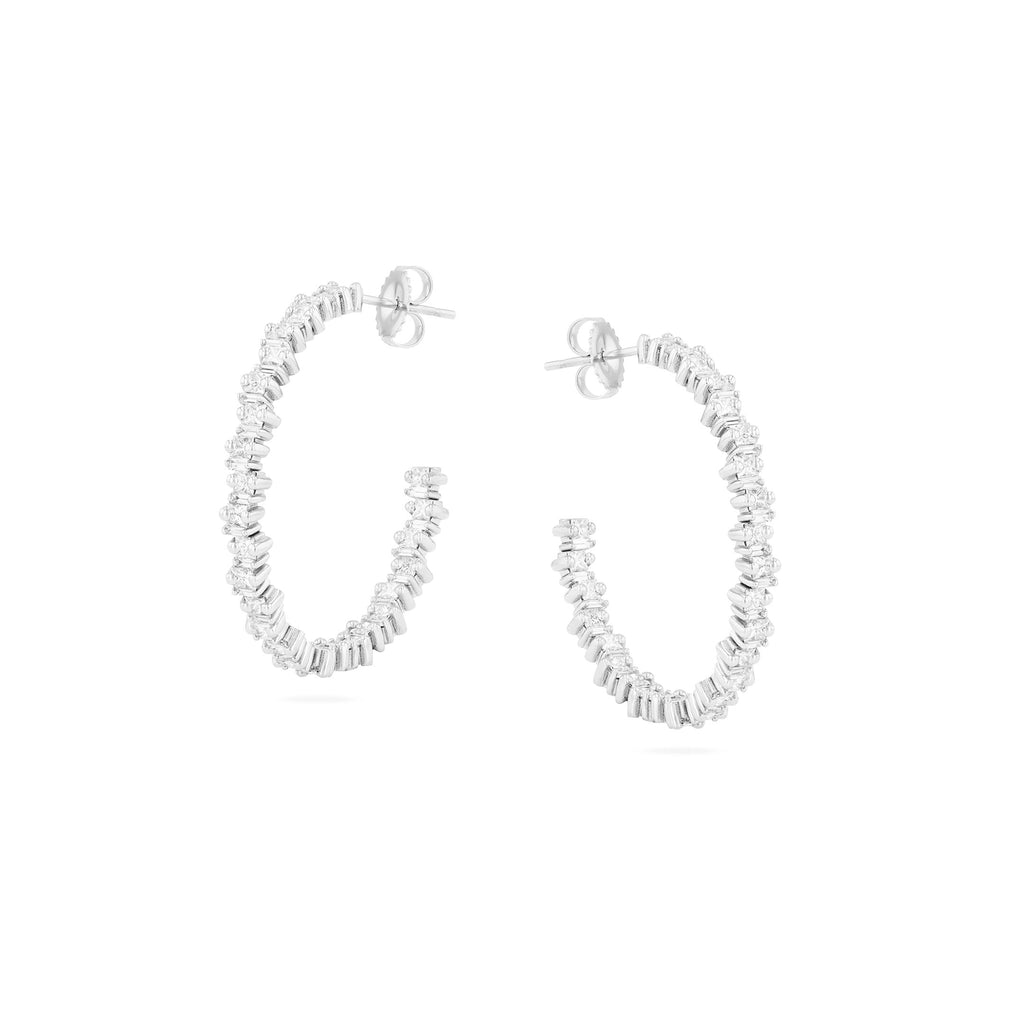 PRINCESS CUT WHITE DIAMOND HOOPS
