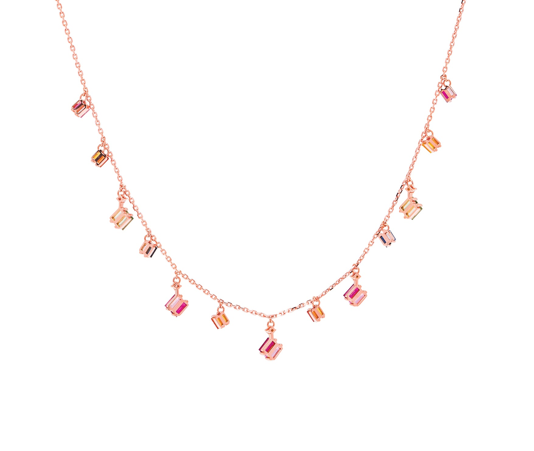 18K ROSE GOLD RAINBOW FRENZY DROPS NECKLACE