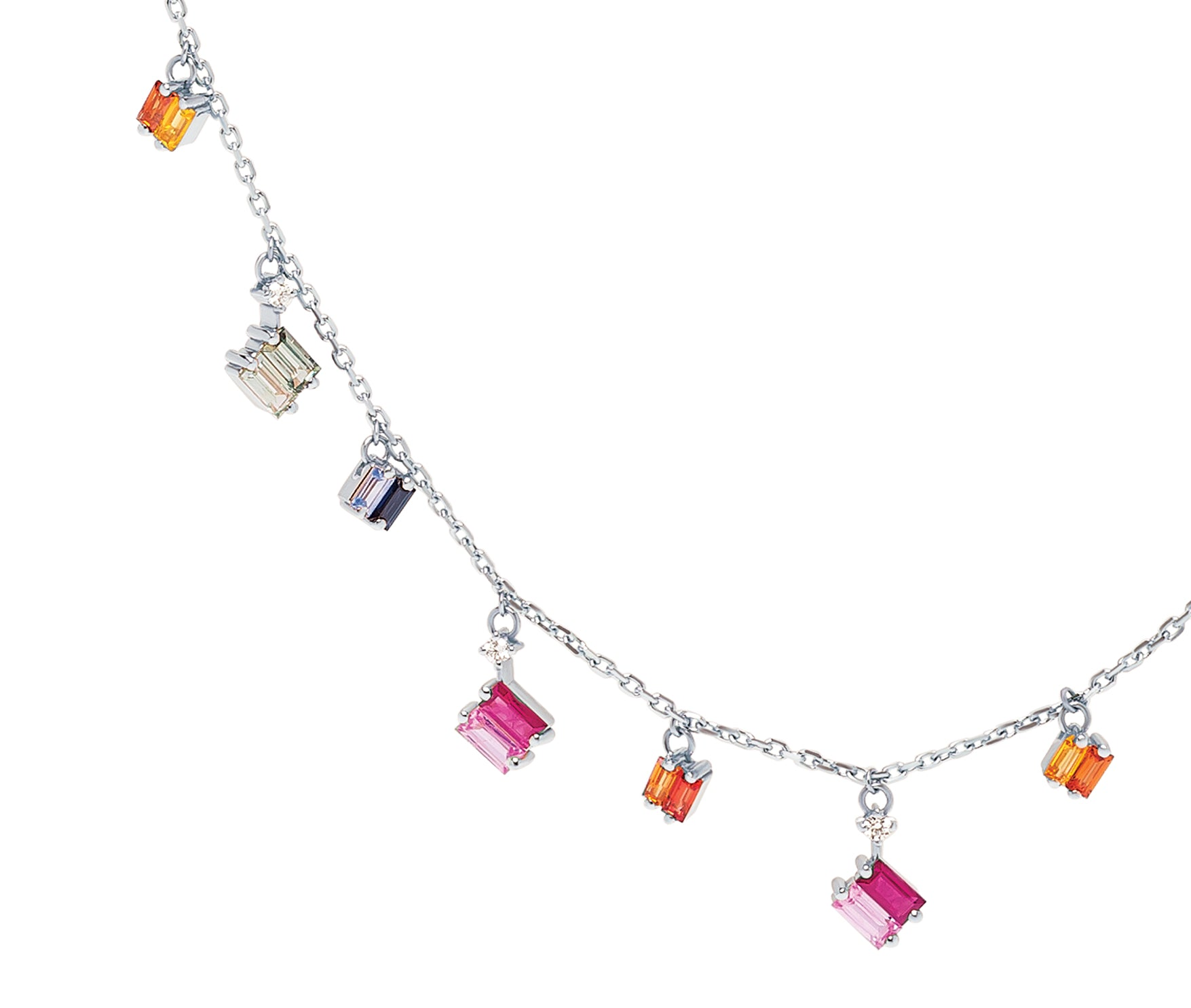 18K WHITE GOLD RAINBOW FRENZY DROPS NECKLACE