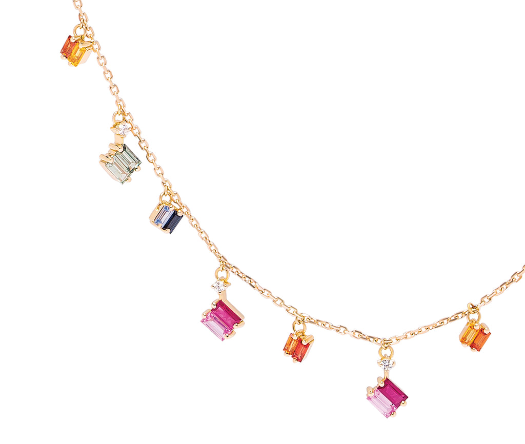 18K YELLOW GOLD RAINBOW FRENZY DROPS NECKLACE