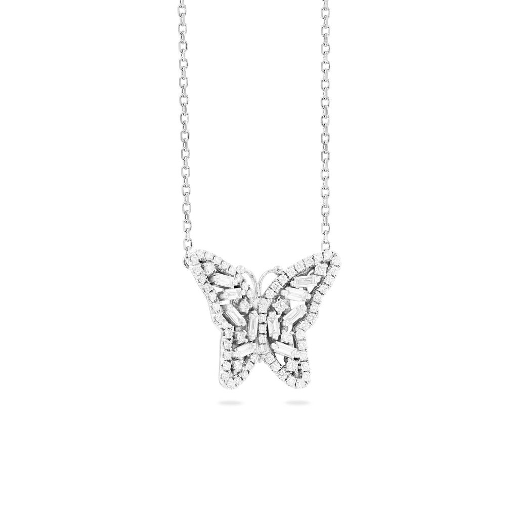 SMALL WHITE DIAMOND BUTTERFLY NECKLACE