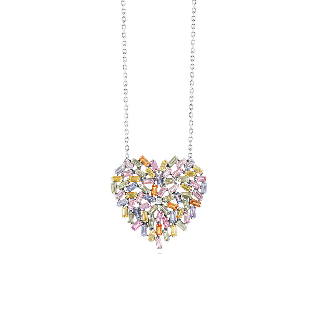 LARGE PASTEL SAPPHIRE HEART NECKLACE