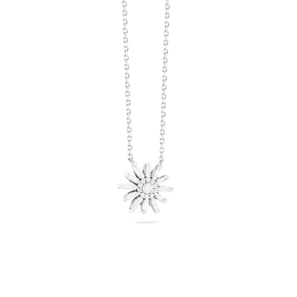 SABINE WHITE DIAMOND FLOWER NECKLACE