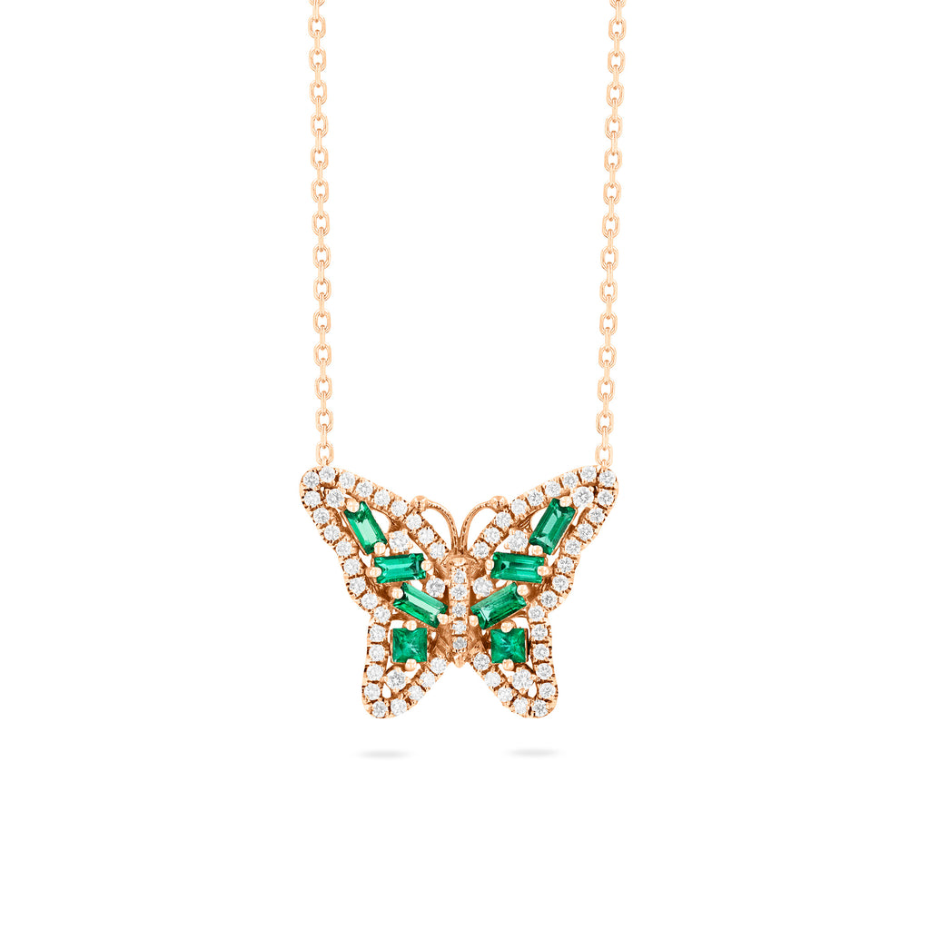 SMALL EMERALD BUTTERFLY NECKLACE