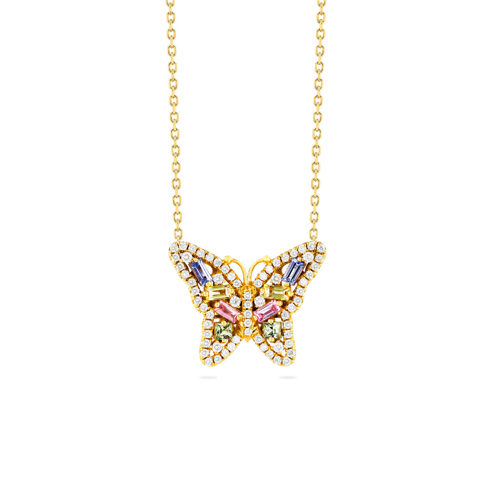 SMALL PASTEL SAPPHIRE BUTTERFLY NECKLACE