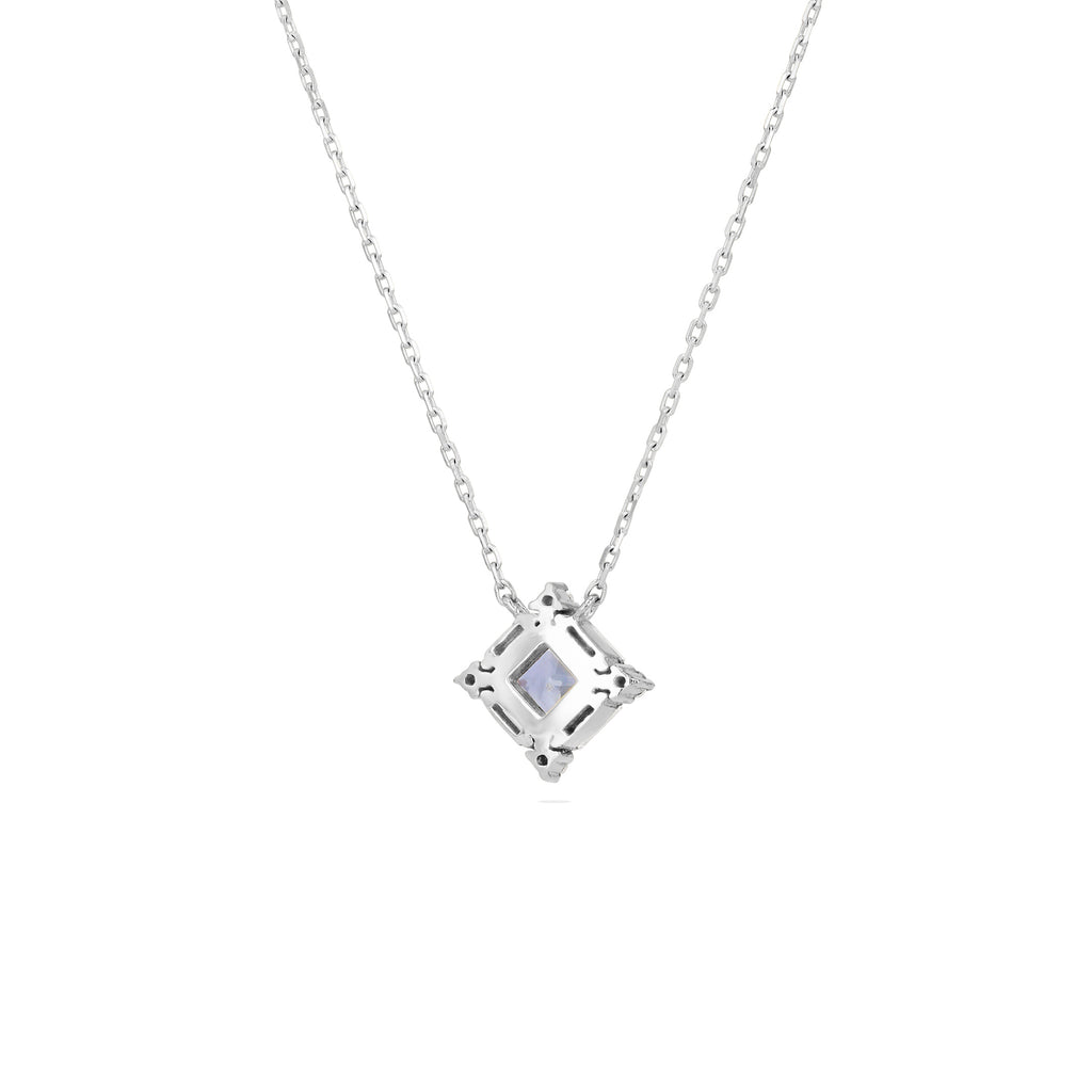 PRINCESS CUT LIGHT BLUE SAPPHIRE NECKLACE