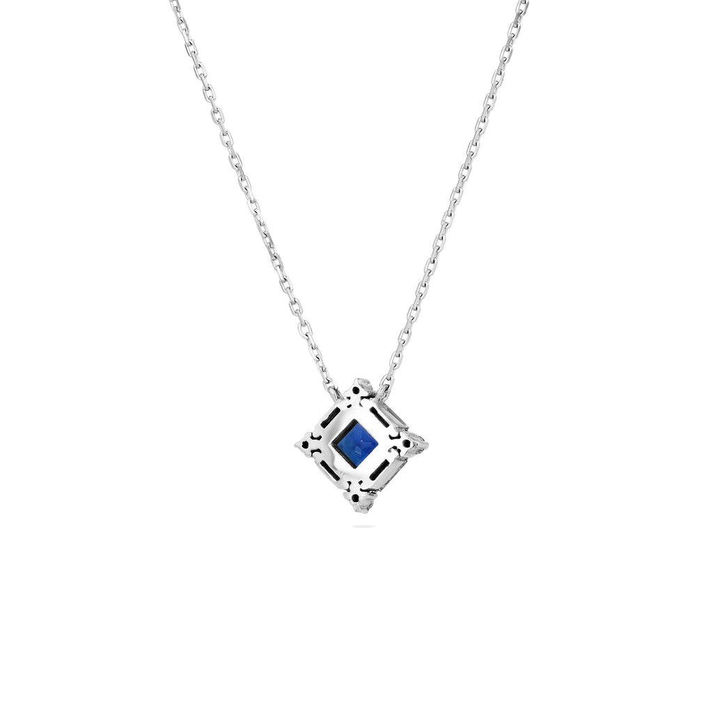PRINCESS CUT DARK BLUE SAPPHIRE NECKLACE