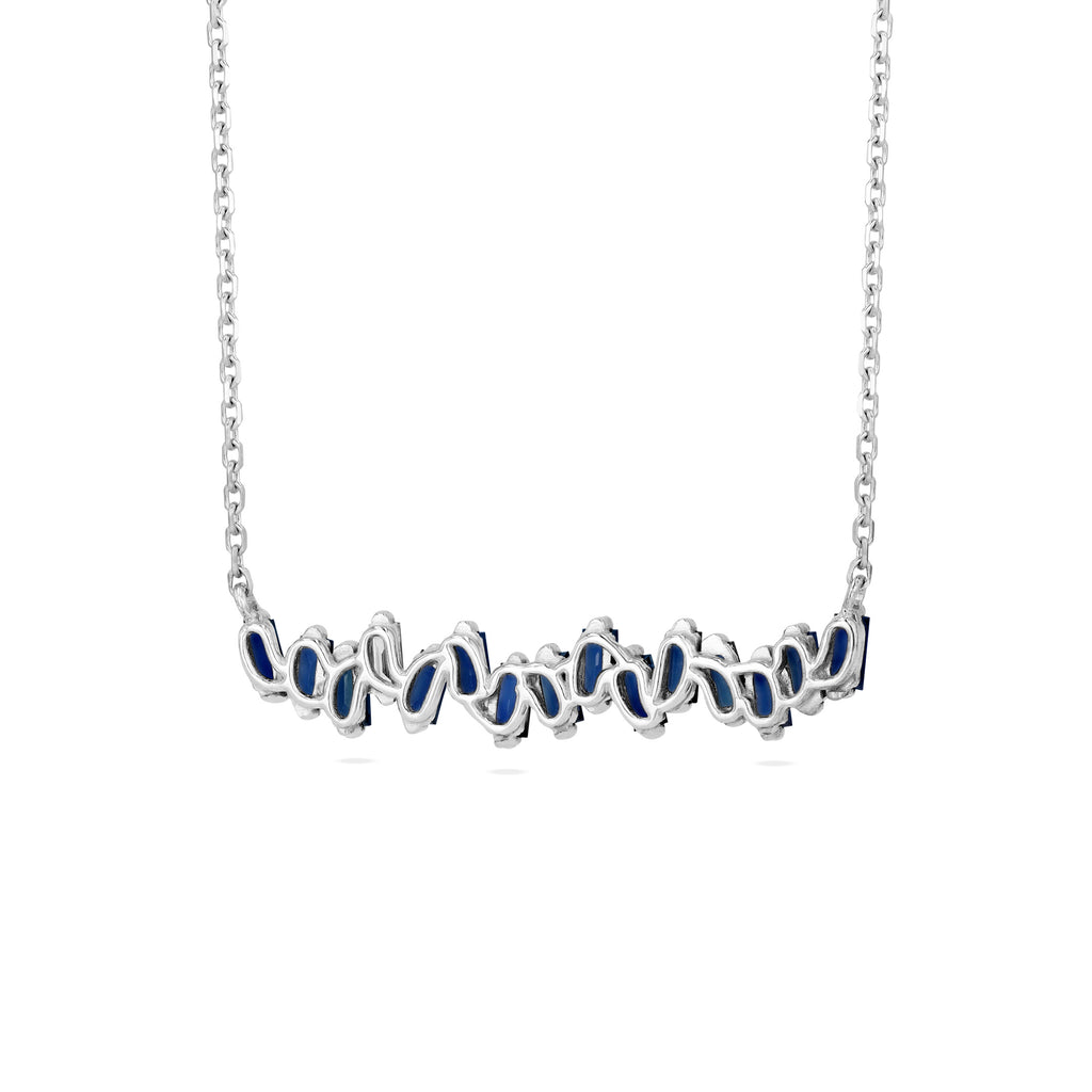 DARK BLUE SAPPHIRE BAGUETTE BAR NECKLACE