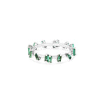 18K WHITE GOLD EMERALD BARB BAND