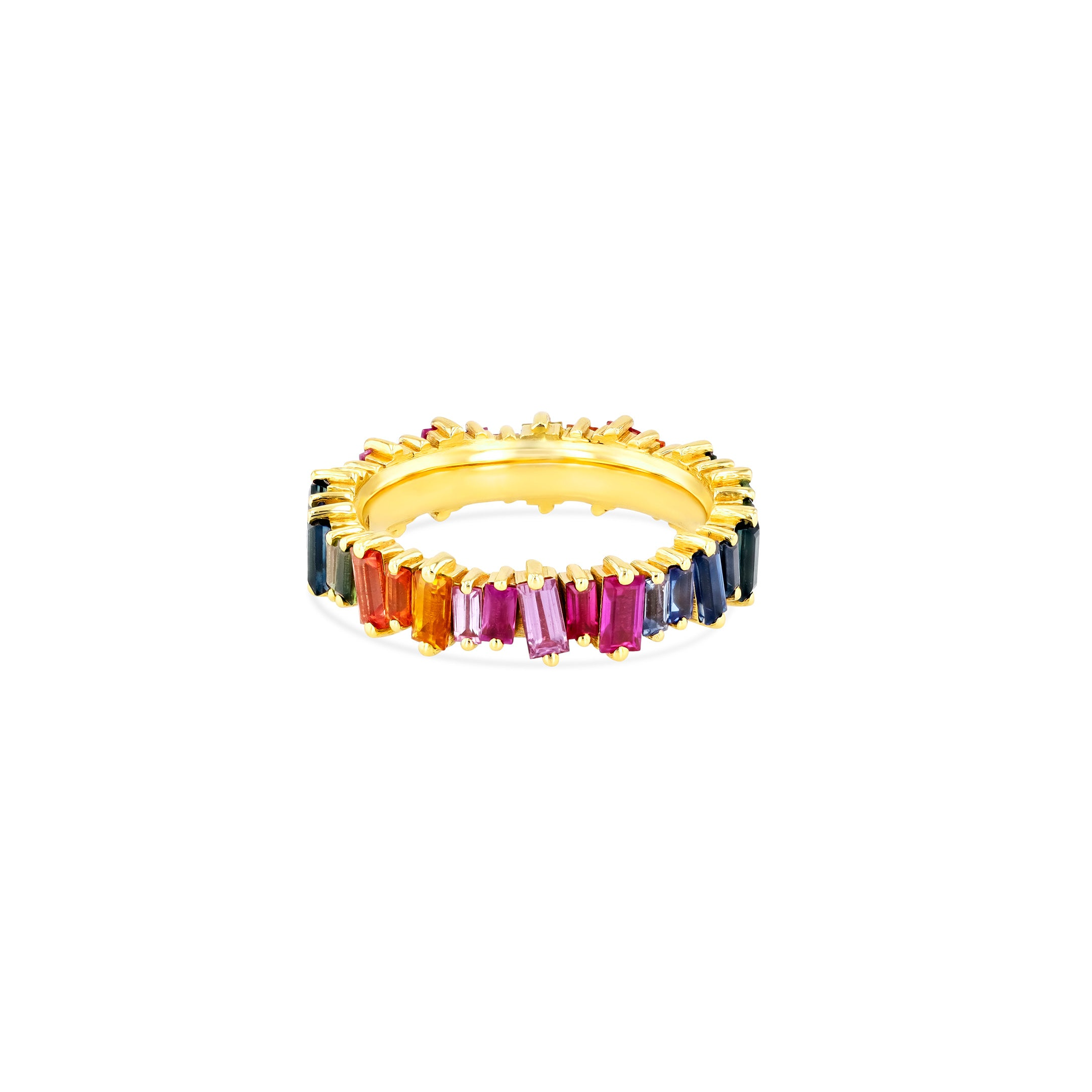 18K YELLOW GOLD RAINBOW SAPPHIRE ETERNITY BAND