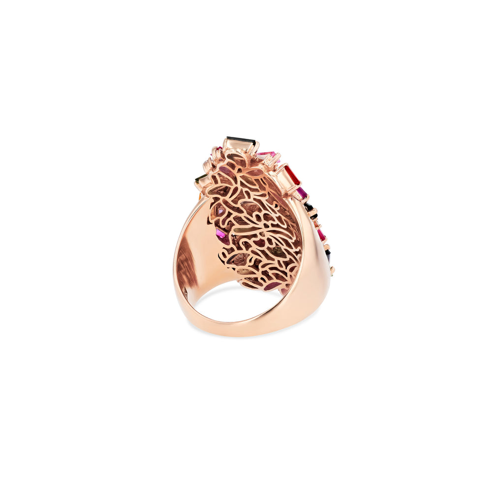 18K ROSE GOLD RAINBOW CLASSIC COCKTAIL RING