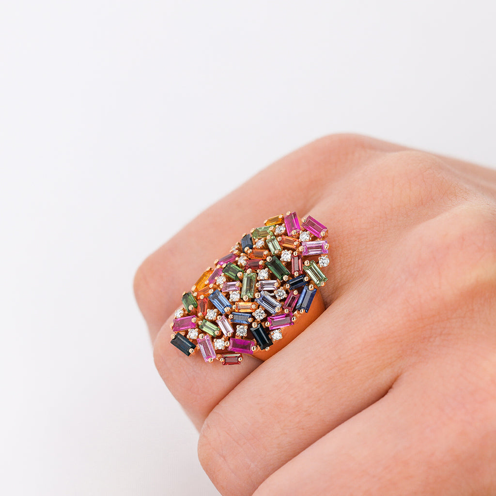 RAINBOW SAPPHIRE CLASSIC COCKTAIL RING