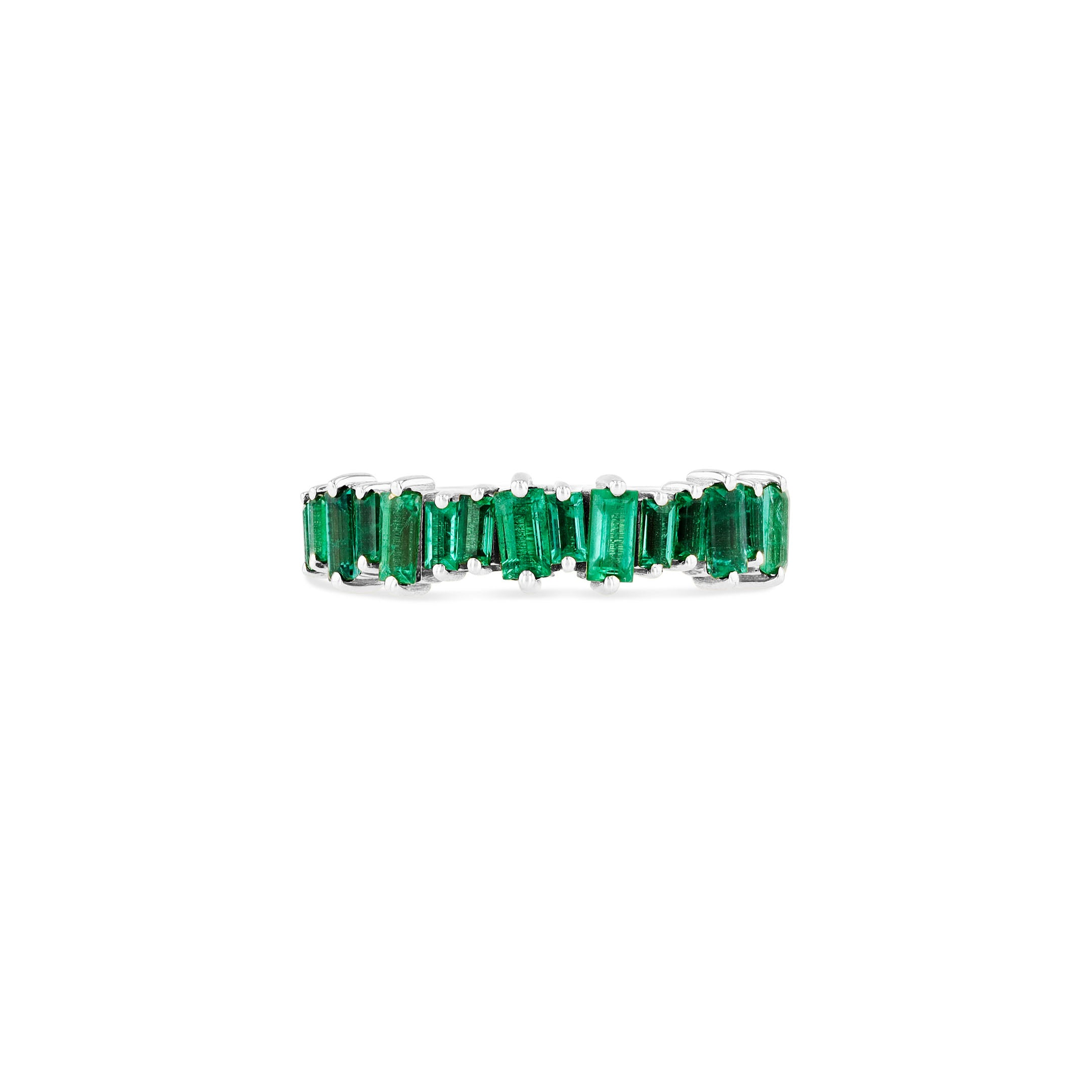 18K WHITE GOLD EMERALD BAGUETTE HALF BAND