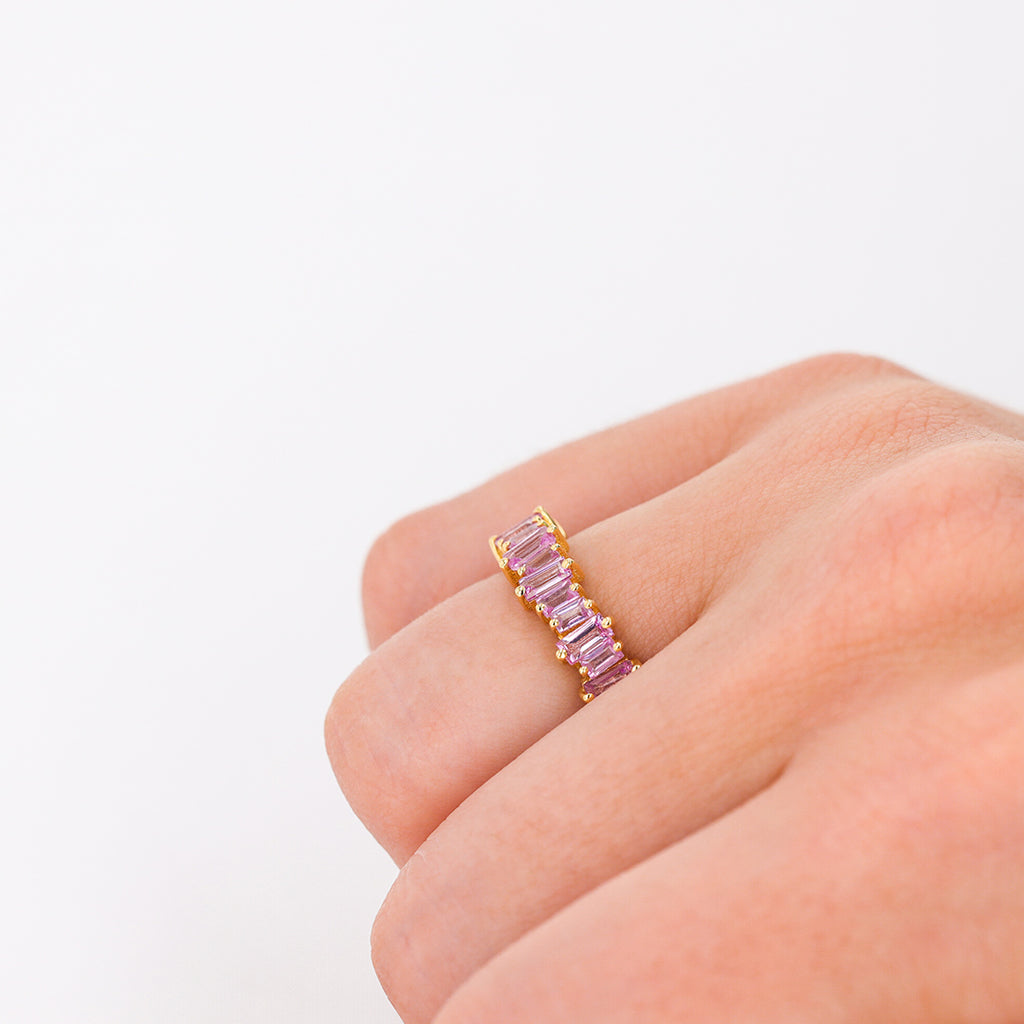 PINK SAPPHIRE BAGUETTE HALF BAND
