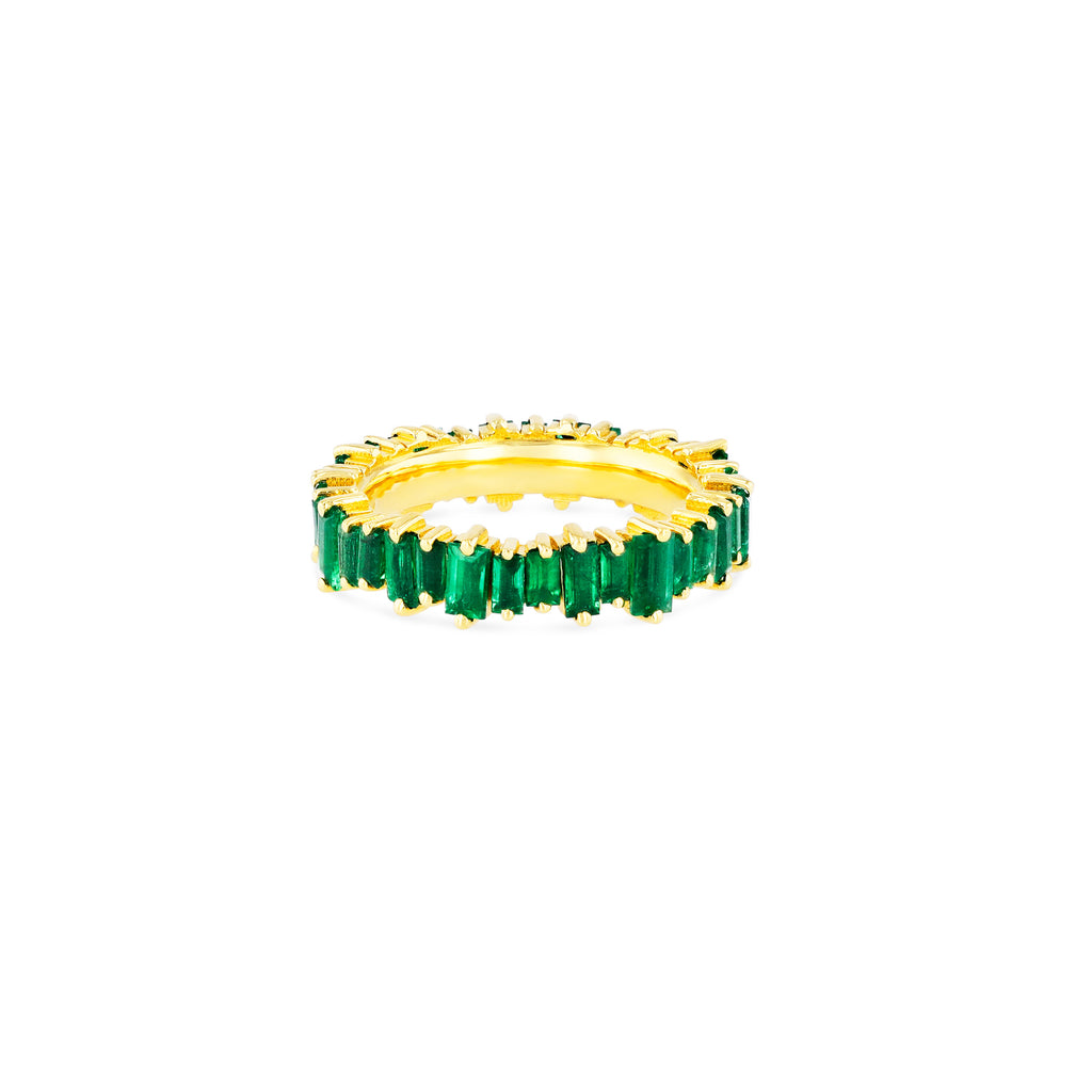 18K EMERALD BAGUETTE ETERNITY BAND