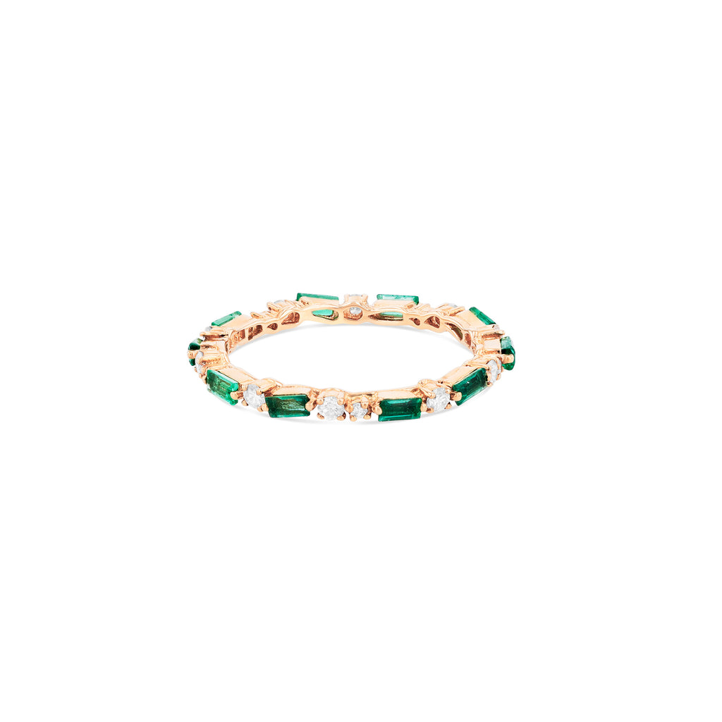 EMERALD THIN MIX ETERNITY BAND