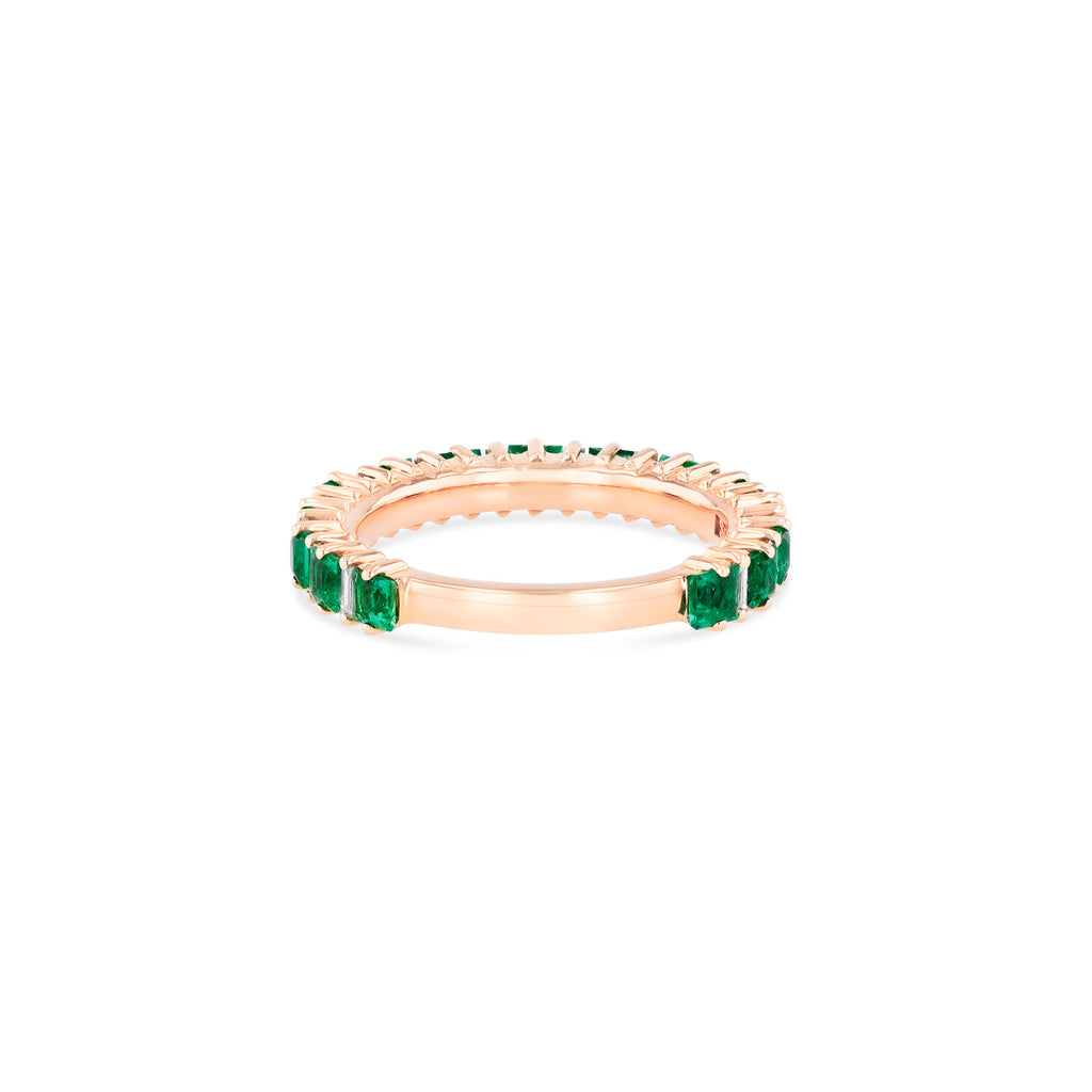 EMERALD AND DIAMOND BAGUETTE 3/4 BAND