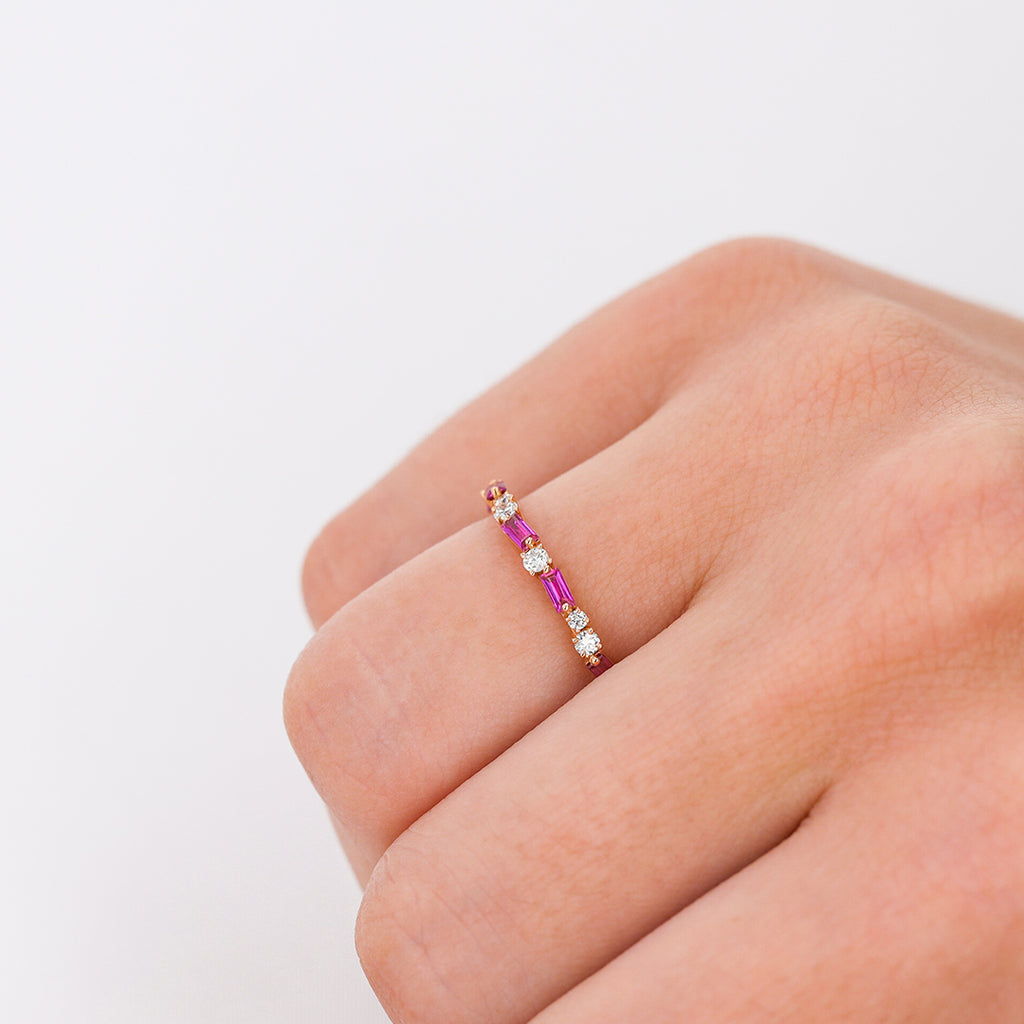RUBY THIN MIX ETERNITY BAND