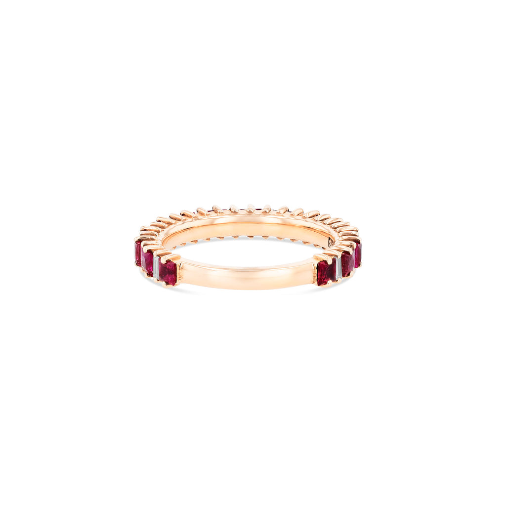 RUBY AND DIAMOND BAGUETTE 3/4 BAND