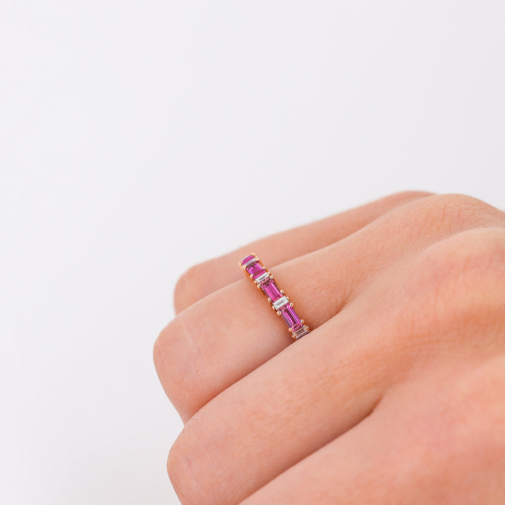 RUBY HORIZONTAL BAGUETTE ETERNITY BAND