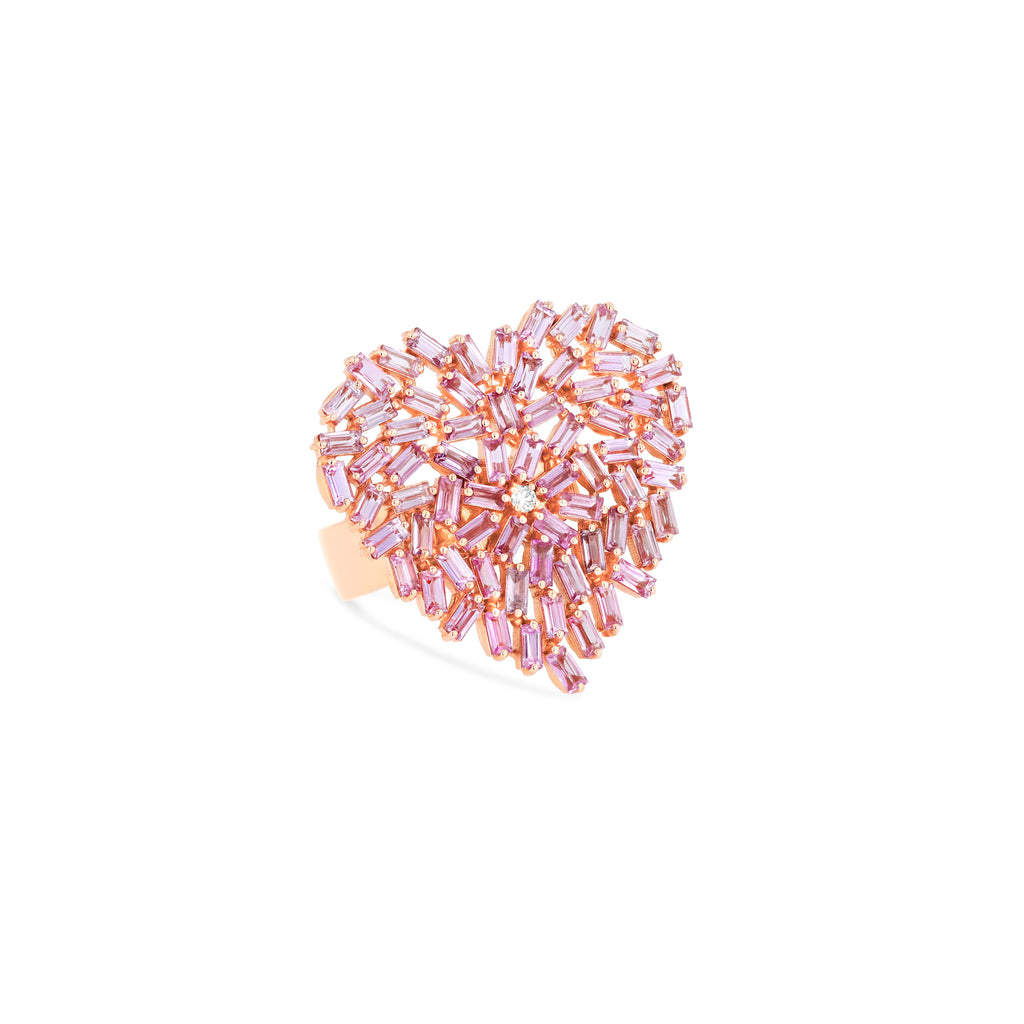 LARGE PINK SAPPHIRE HEART RING