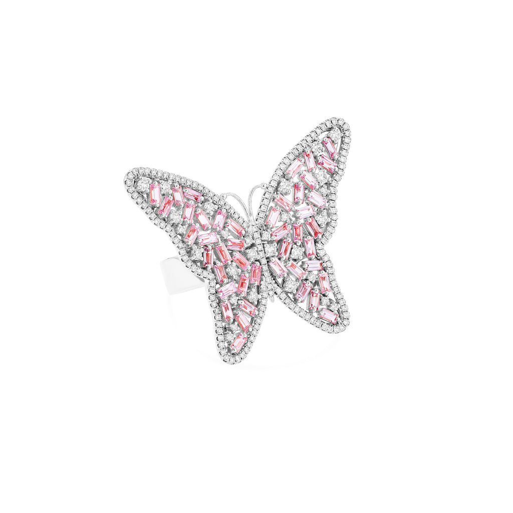 LARGE PINK SAPPHIRE BUTTERFLY RING