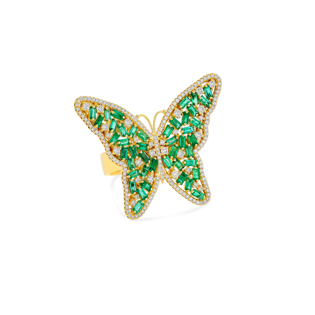 EMERALD LARGE BUTTERFLY RING