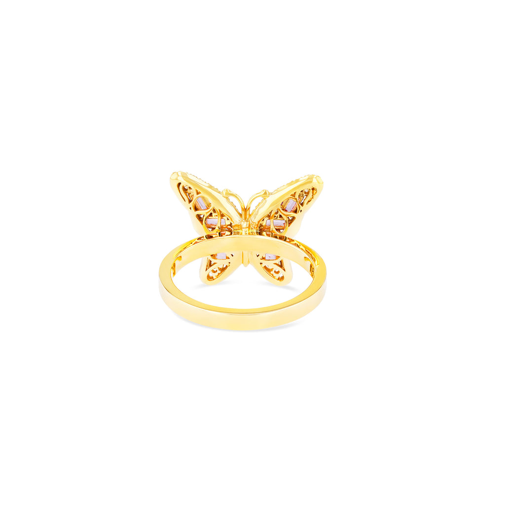 SMALL PINK SAPPHIRE BUTTERFLY RING