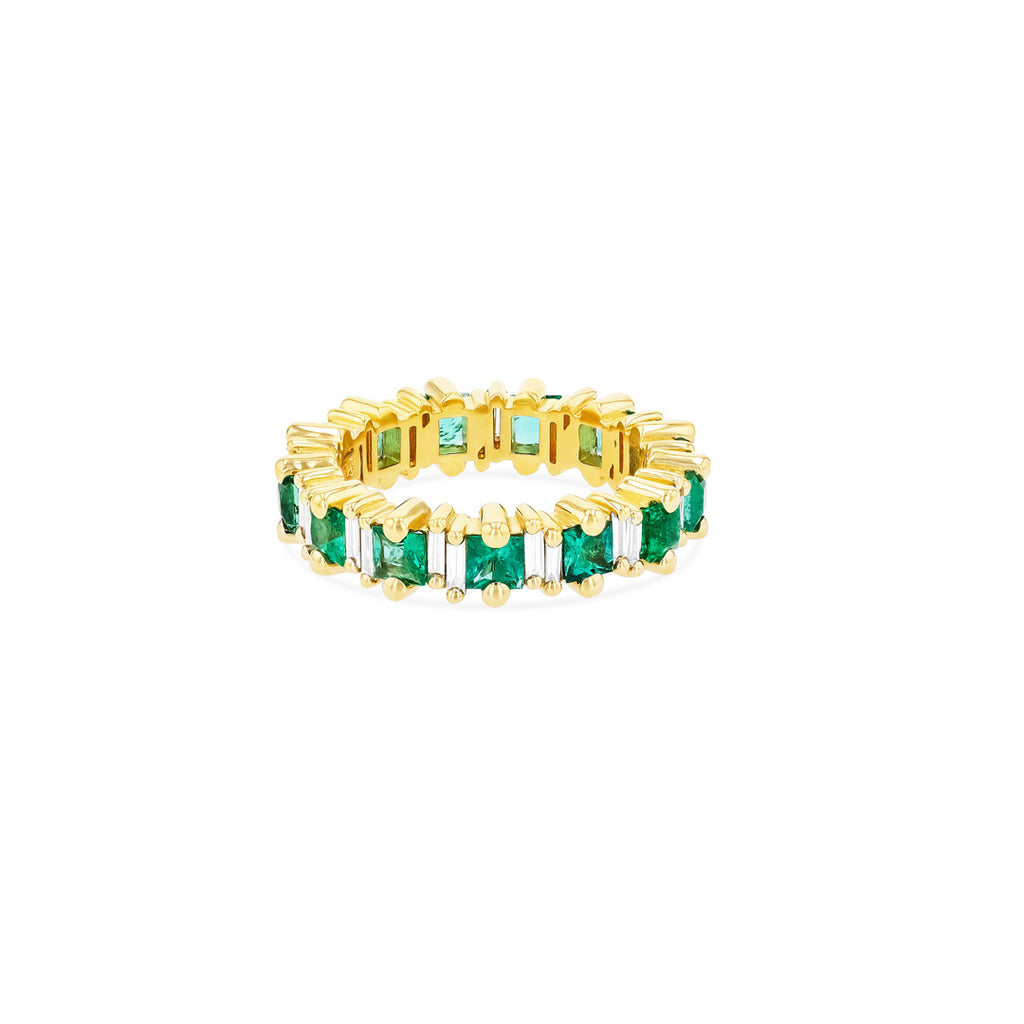 FAYE PRINCESS CUT EMERALD ETERNITY BAND