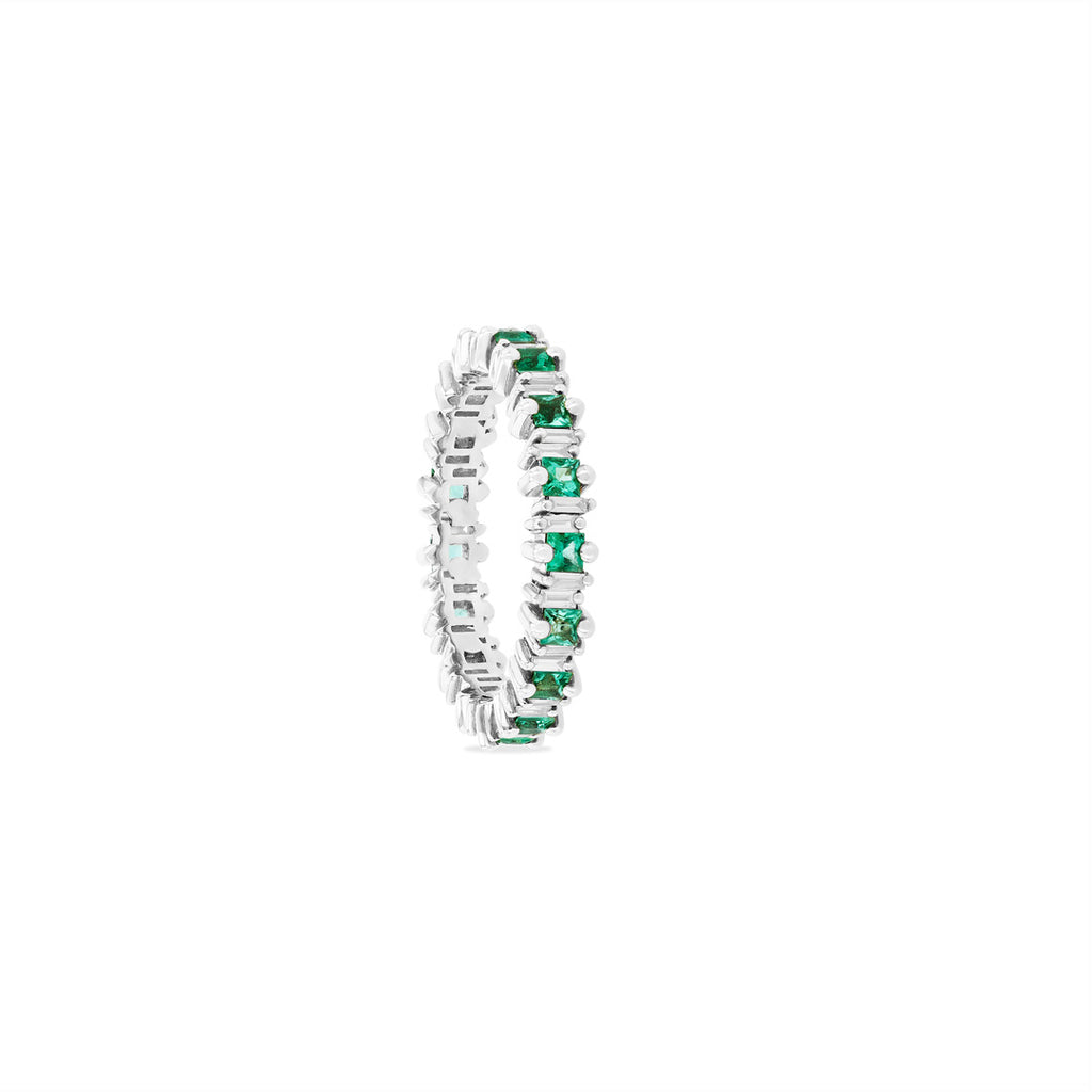 DAHLIA PRINCESS CUT EMERALD ETERNITY BAND