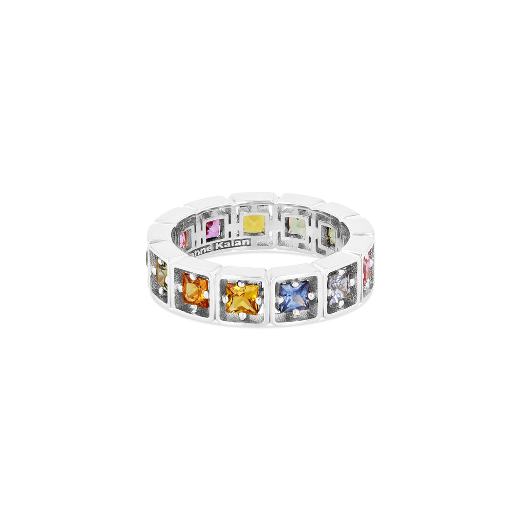 CASSIA PASTEL SAPPHIRE PRINCESS CUT ETERNITY BAND