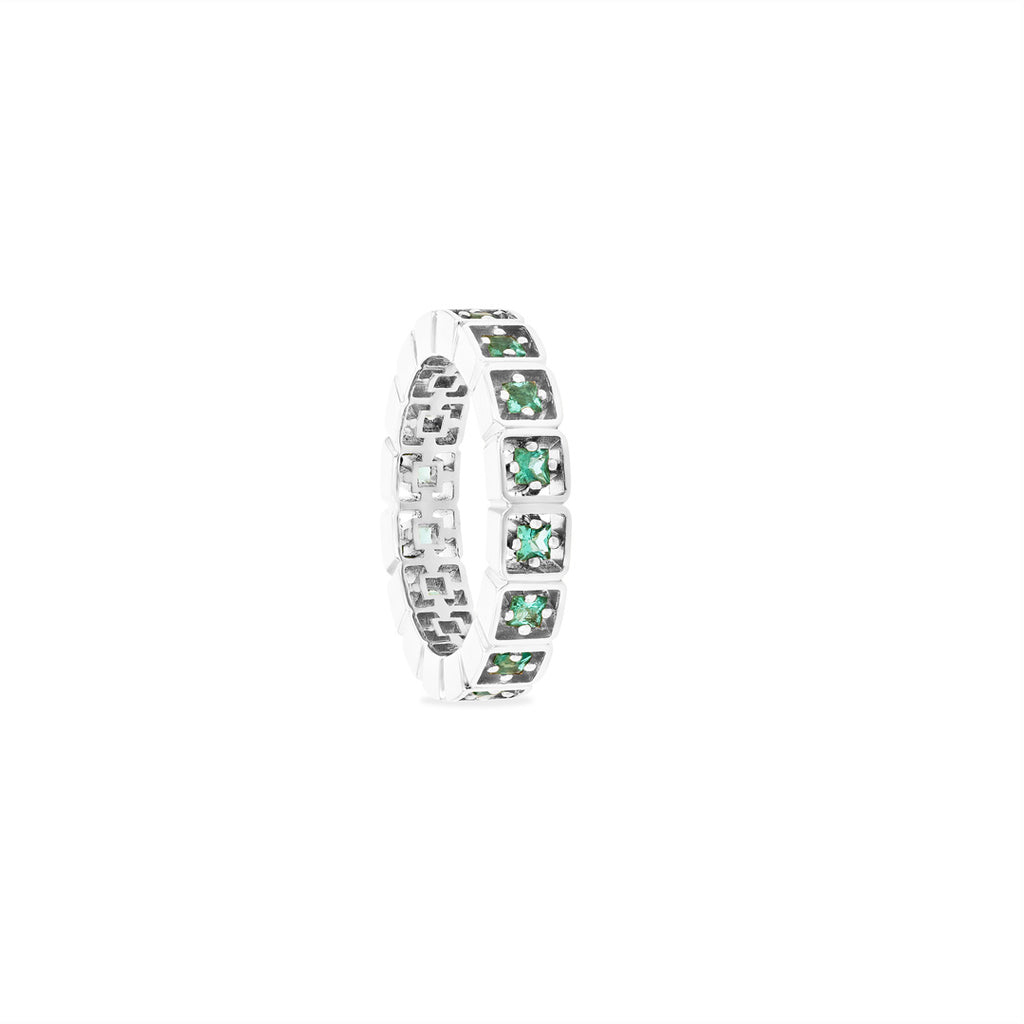 CASSIA PRINCESS CUT EMERALD ETERNITY BAND