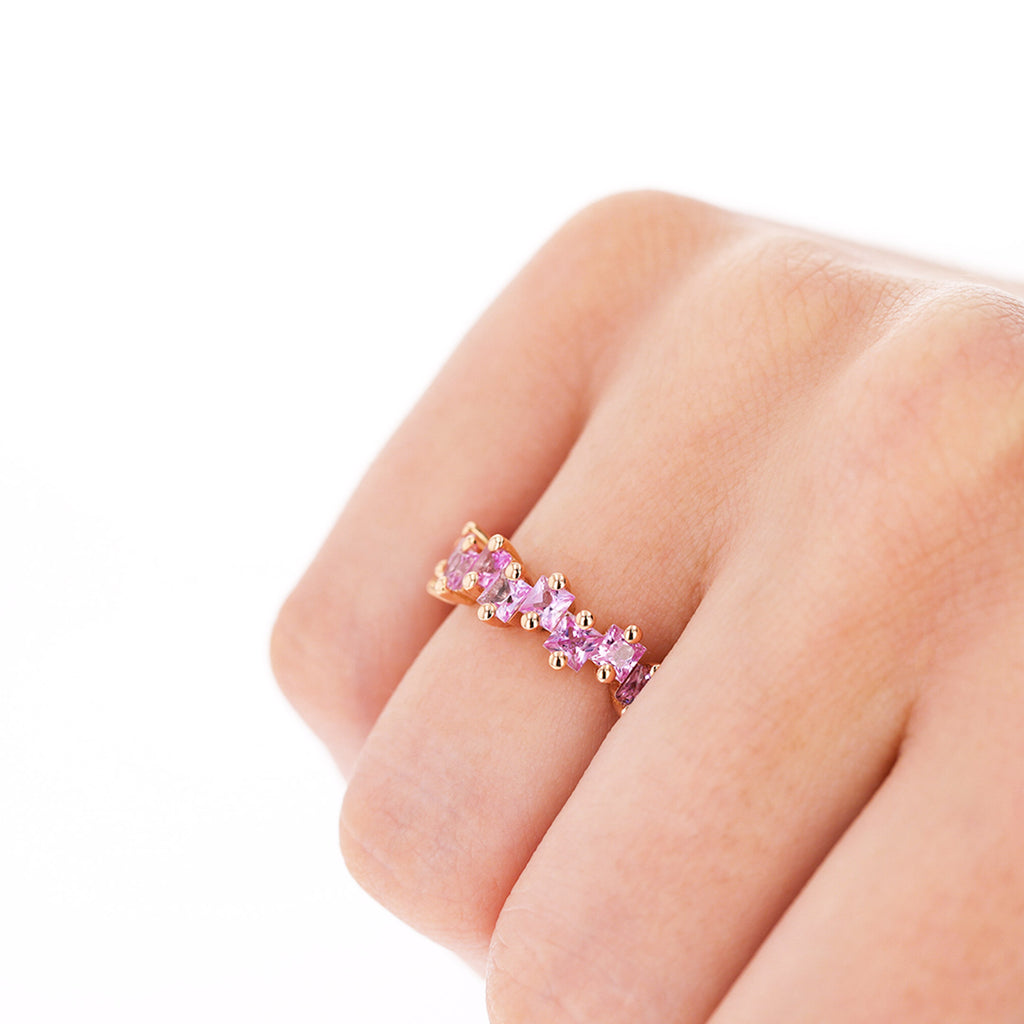 BLAIR PINK SAPPHIRE PRINCESS CUT ETERNITY BAND