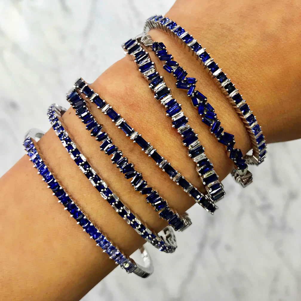 BLUE SAPPHIRE PRINCESS-CUT BANGLE