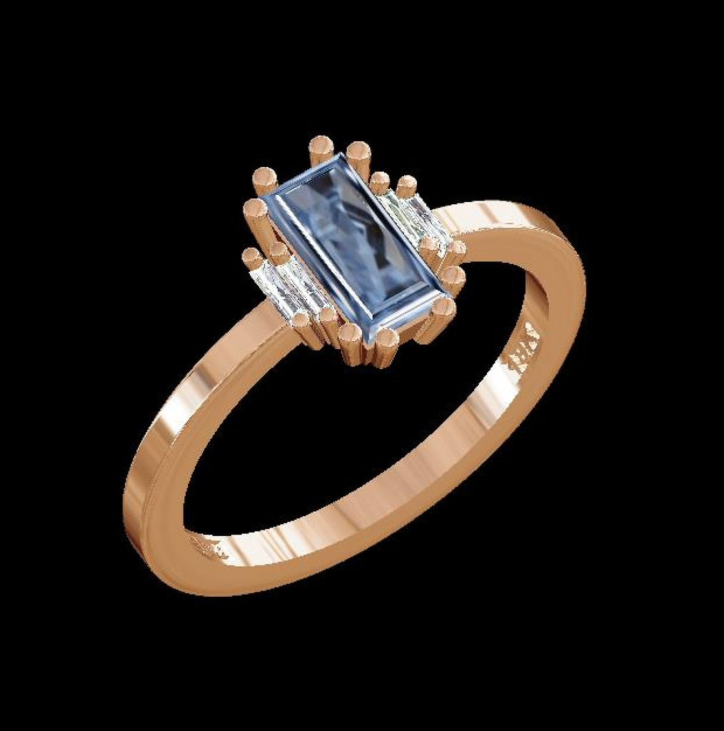 ONE OF A KIND LIGHT BLUE SAPPHIRE BAGUETTE RING